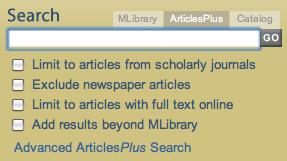 ArticlesPlus Search Box (screenshot)