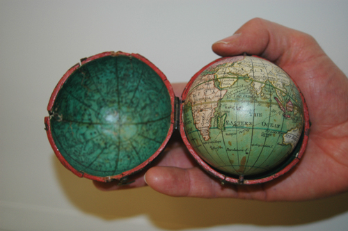 Image of the pocket globe held in the Map Library.