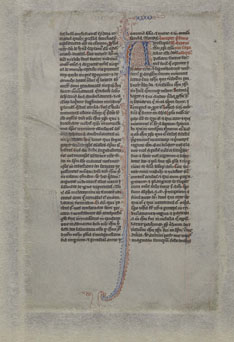 Leaf of 13th century bible, verso