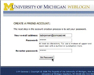 Screenshot of where you set password