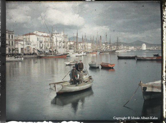 Scanned autochrome of scene on Greek waterfront