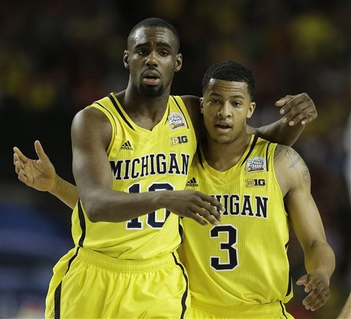 Digital photograph of Michigan mens basketball players