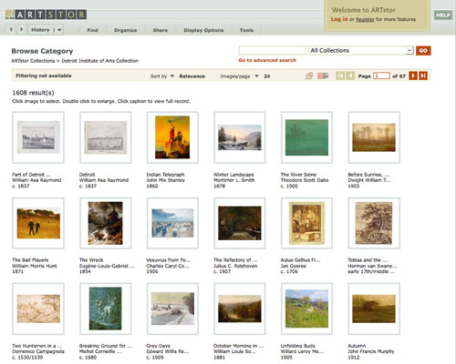 screen shot of artstor.org web page