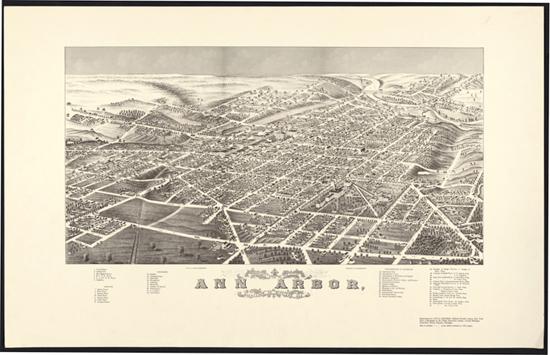 Digitized bird's-eye view of Ann Arbor, 1880
