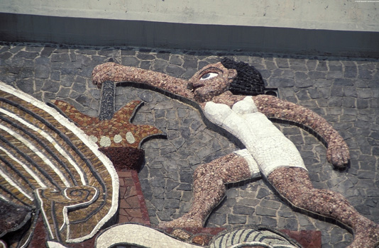 Digital photograph of mosaic on face of Olympic stadium