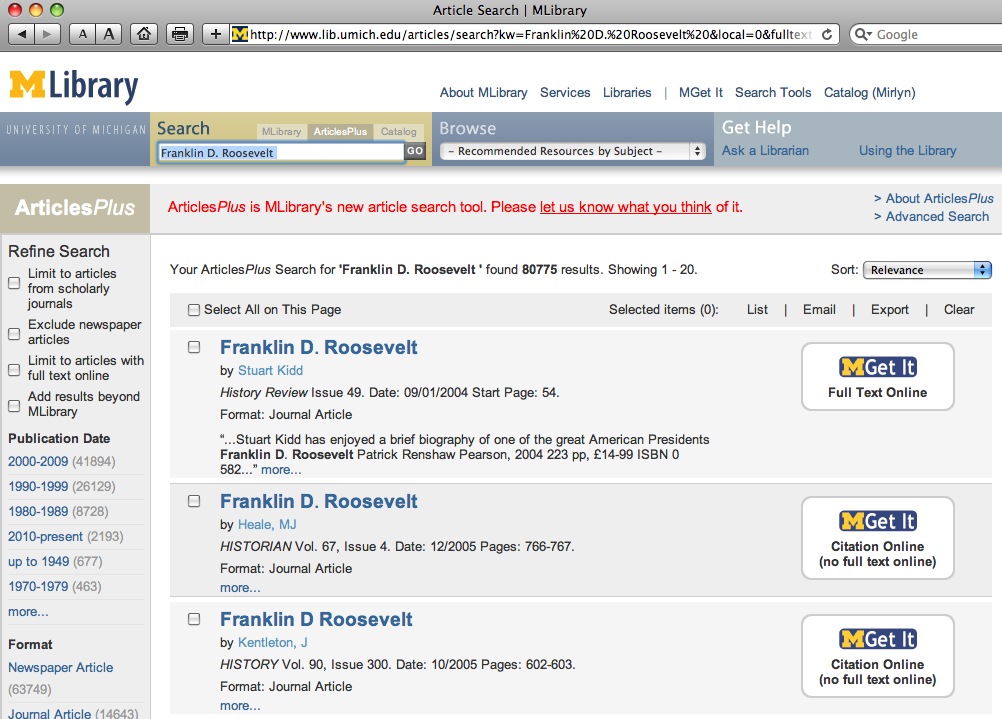 ArticlesPlus results for 'Franklin Roosevelt' search