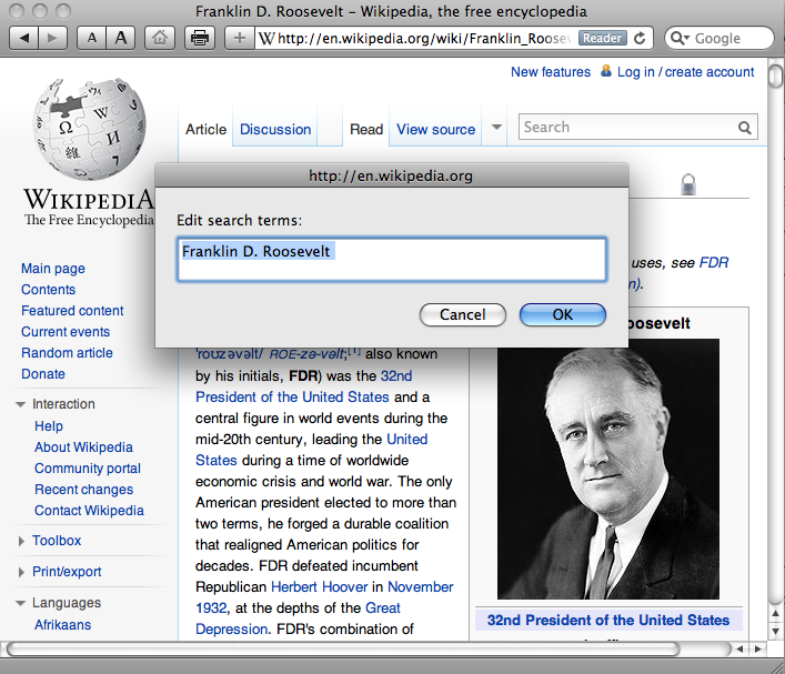 Screen shot of Wikipedia page with ArticlesPlus bookmarklet window superimposed