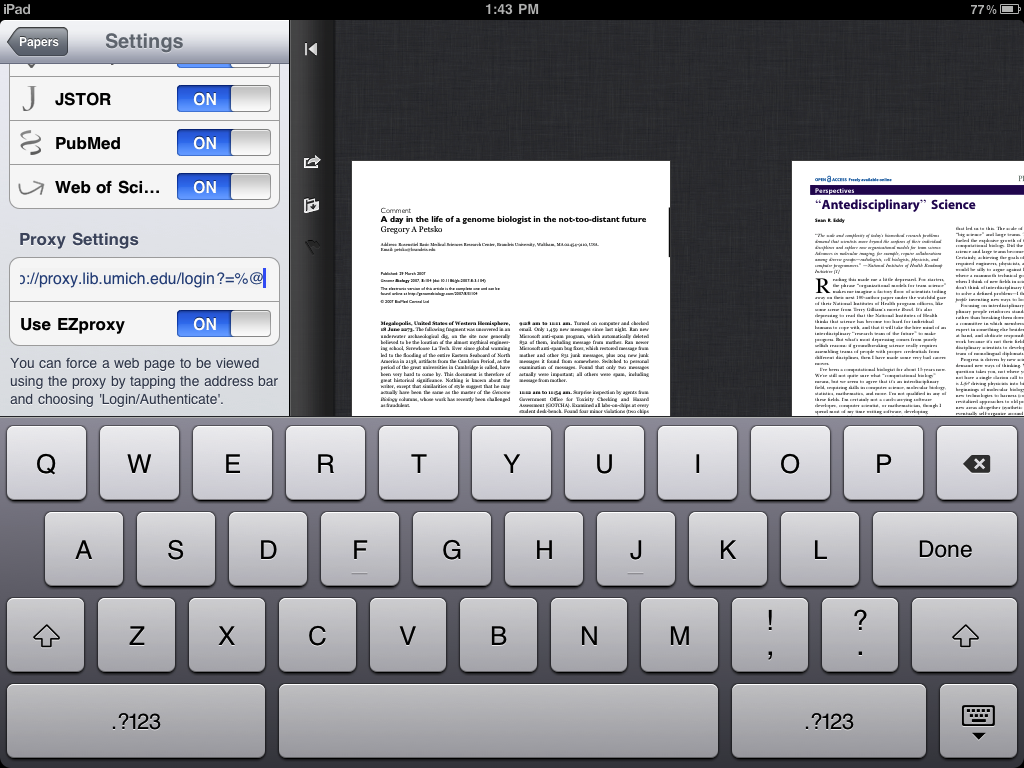 Proxy Settings for Mekentosj Papers Application for iPad