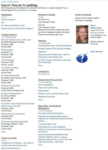 Screenshot of original University of Michigan Library search results