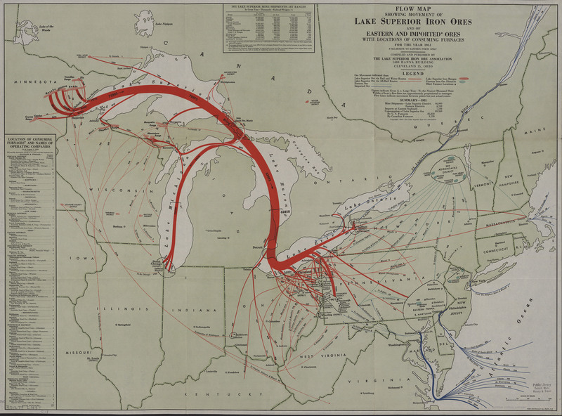 Flow map showing movement of Lake Superior iron ores and of eastern and imported ores with locations of consuming furnances for the year 1951