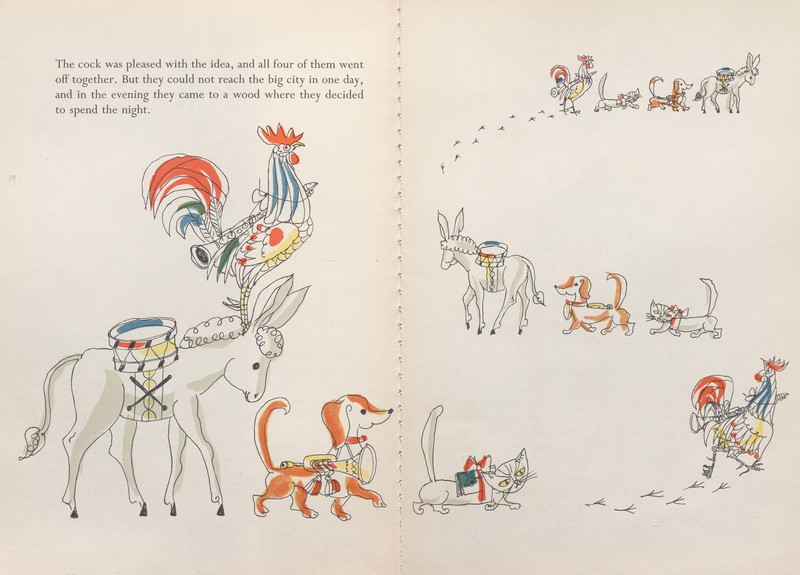 Illustration of the animals marching in The Traveling Musicians