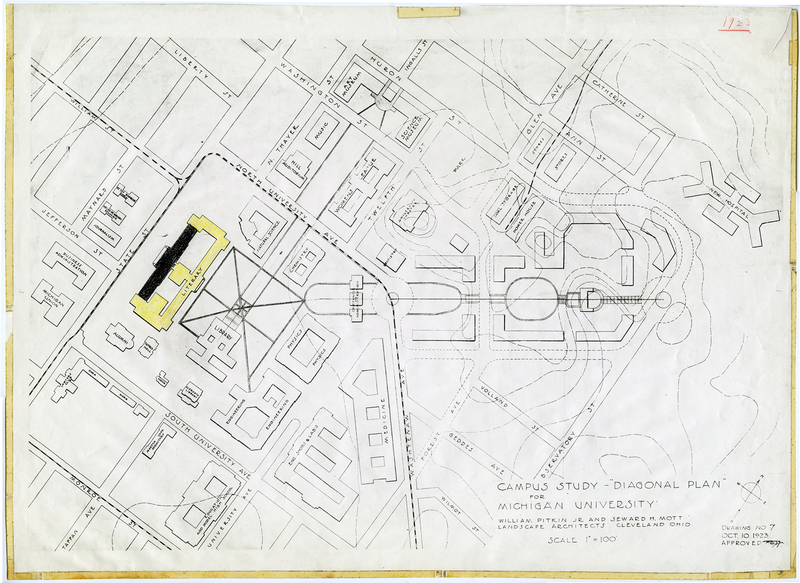 Campus study--diagonal plan for Michigan University