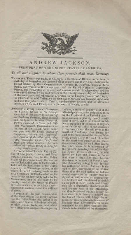 First page of a published edition of the Treaty Between the United States of America & The United Nation of Chippewa, Ottowa, & Potawatamie Indians. Concluded Sept. 26, 1833. Ratified Feb. 2, 1835.
