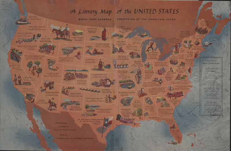 Clark Library Literary Maps Literature Of The United States - Us brown map with states