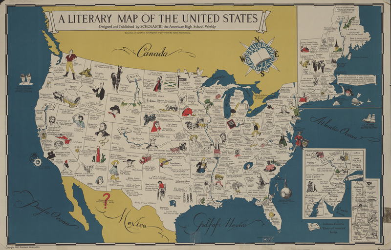 Clark Library Literary Maps Literature Of The United States - East coast map us