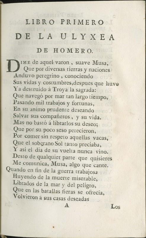 La Ulixea de Homero, traducida de Griego en lengua Castellana por el secretario Gonzalo Perez.