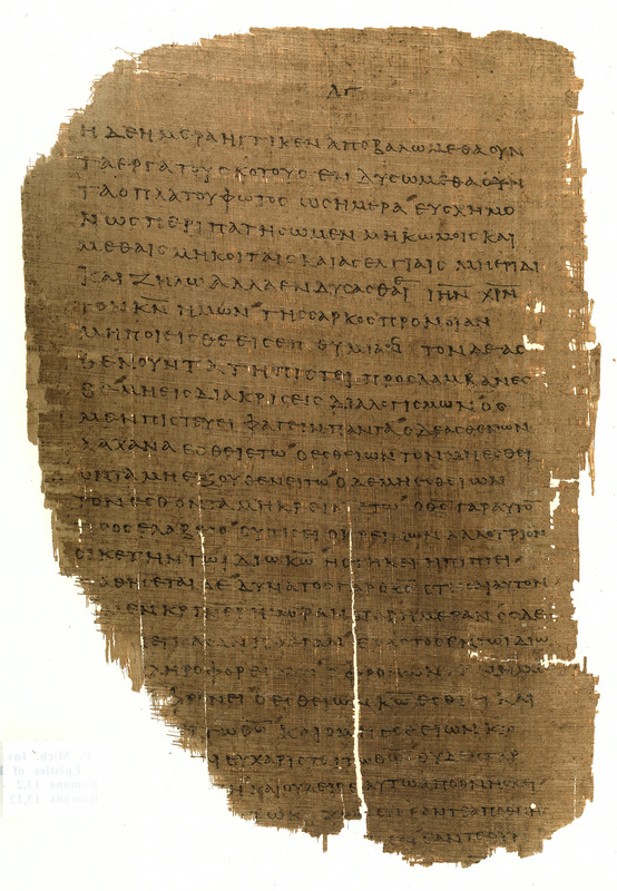 Epistle to the Romans<br />St. Paul, Romans, 13:12-14:8.<br />Egypt, late second-fourth century CE.