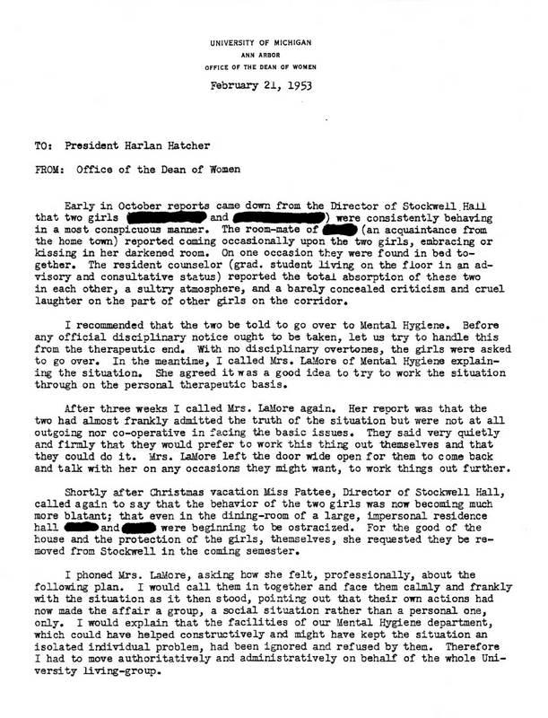 Memorandum from Deborah Bacon to Harlan H. Hatcher<br />