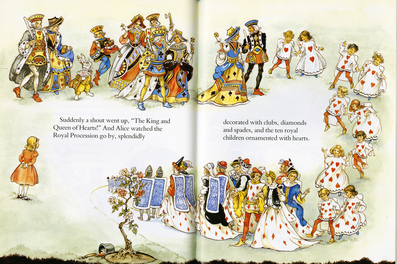 Pages 60-61 of Lewis Carroll's Alice in Wonderland