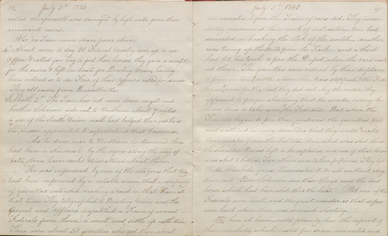 Pages 18-19 of volume 4 of Diary. Scenes and incidents appertaining to the war. Occurring at, or near South Union, Ky.