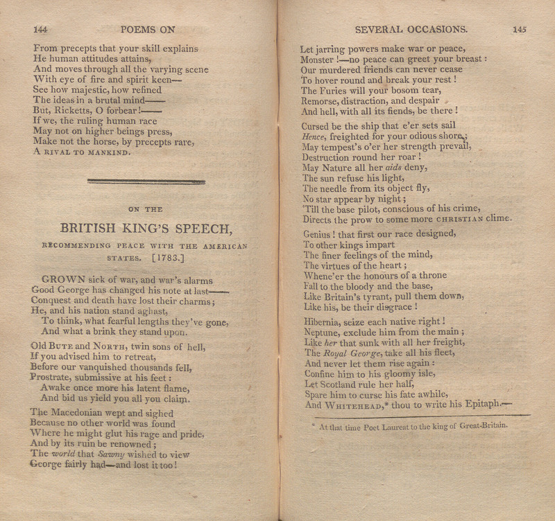 Pages 144-145 of the second volume of Poems Written and Published During the American Revolutionary War, and Now Republished From the Original Manuscripts: Interspersed With Translations From the Ancients, and Other Pieces Not Heretofore in Print