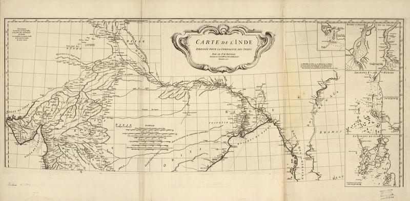 Carte de l'Inde : dressée pour la Compagnie des Indes