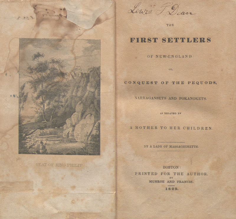 Title page and frontispiece of The First Settlers of New-England: or, Conquest of the Pequods, Narragansets and Pokanokets. As Related by a Mother to her Children