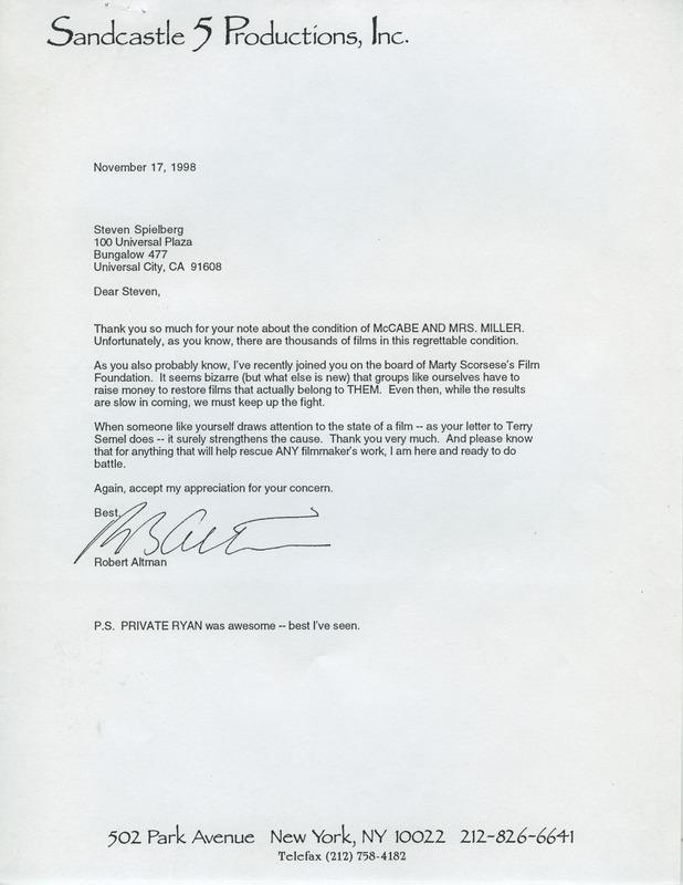 Letter from Robert Altman to Steven Spielberg, 1998.