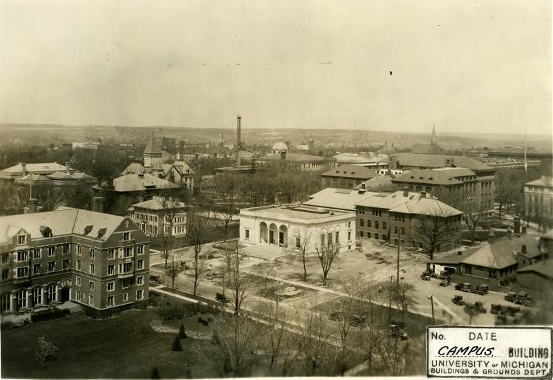 Aerial view of central campus, showing Clements Library under construction, 1923-1924