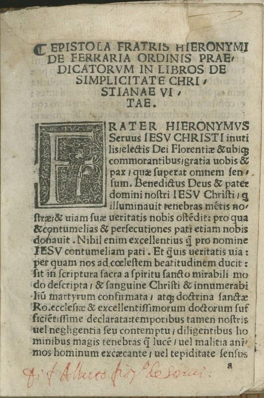 Epistola fratris Hieronymi de Ferrara ordinis praedicatorum in libros de simplicitate Christianae vitae