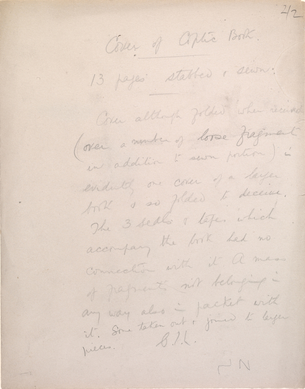 Folder inscribed by Charles Lamacraft