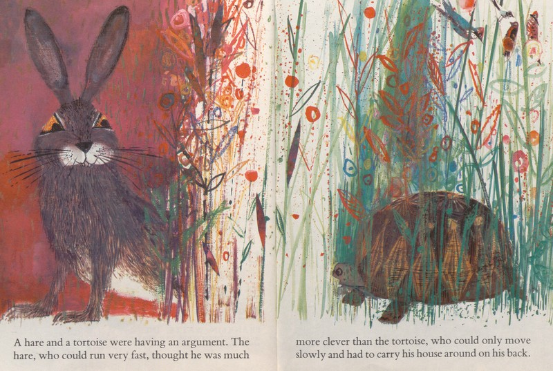 Illustration of the title characters from The Hare and the Tortoise