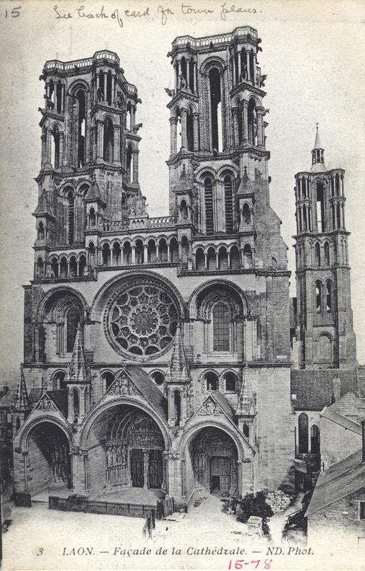 3 Laon. Facade de la Cathedrale.