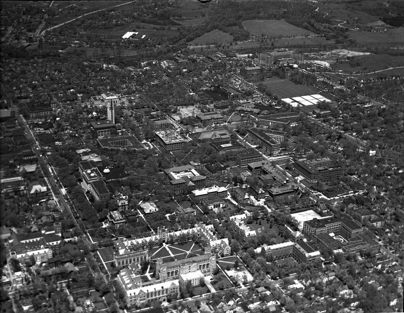 Aerial view of central campus, 15 May 1937