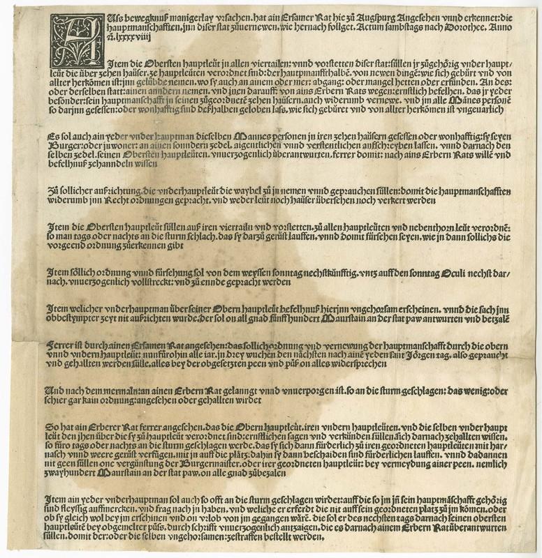<em>Wehrordnung, herausgegeben vom Rat der Stadt Augsburg, 9 Feb. 1499</em>