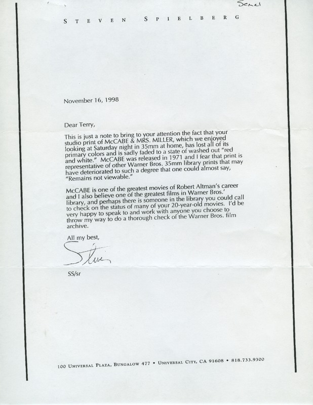 letter from steven spielberg to terry semel warner brothers  letter from steven spielberg to terry semel warner brothers 1998