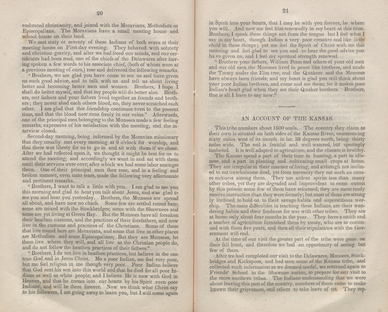 Pages 20-21 of Report of a Visit to Some of the Tribes of Indians, Located West of the Mississippi River