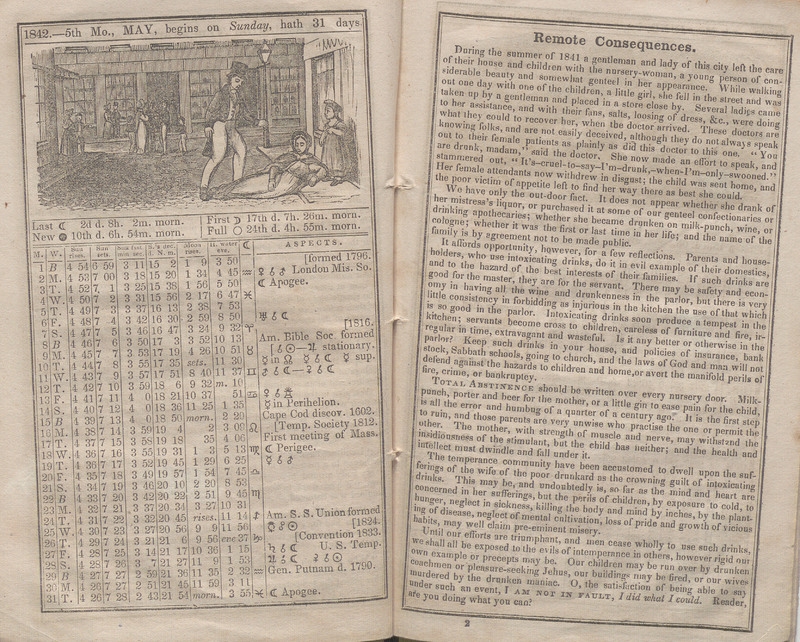 Pagespread showing the month of May in The Temperance Almanac, of the Massachusetts Temperance Union, for the Year of our Lord 1842...