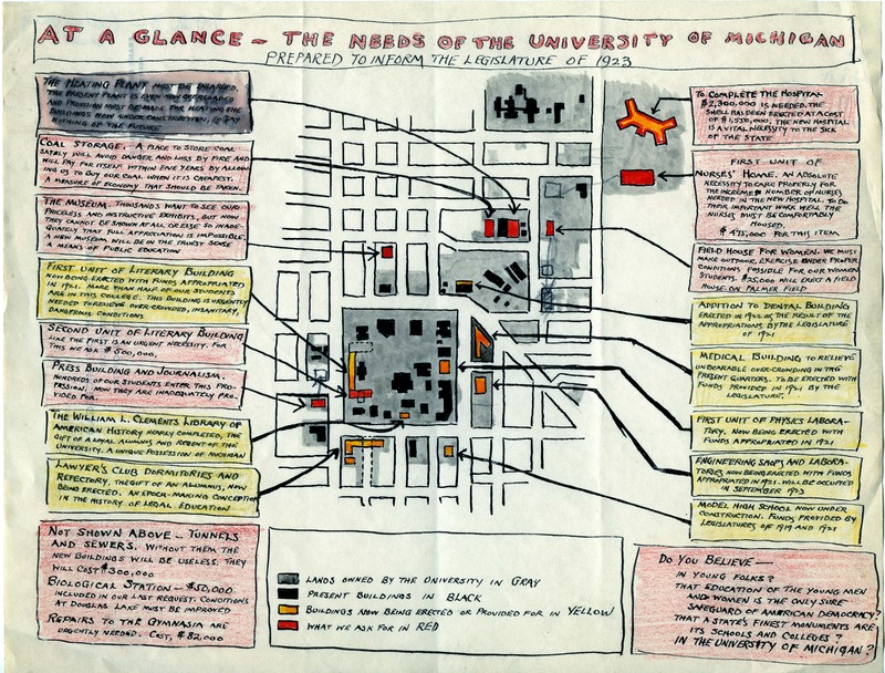 At a Glance, the Needs of the University of Michigan: Prepared to Inform the Legislature of 1923.
