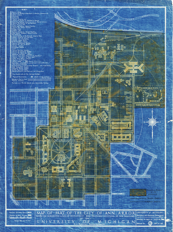 Map of Part of the City of Ann Arbor; Showing Suggested Lines of Development And Proposed Locations of New Buildings of the University of Michigan
