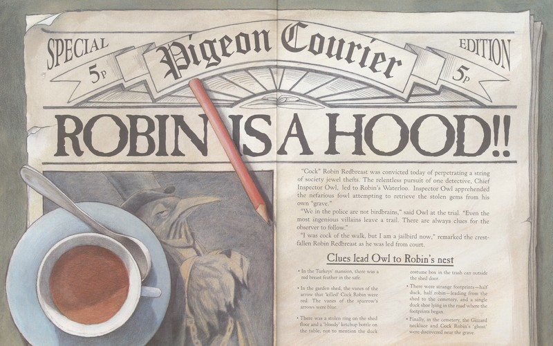Pagespread illustrating a newspaper from Who Killed Cock Robin?