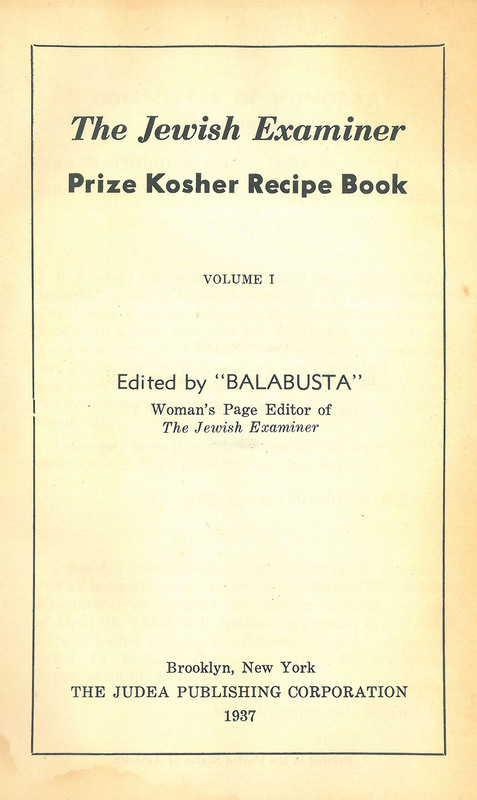 The Jewish Examiner Prize Kosher Recipe Book