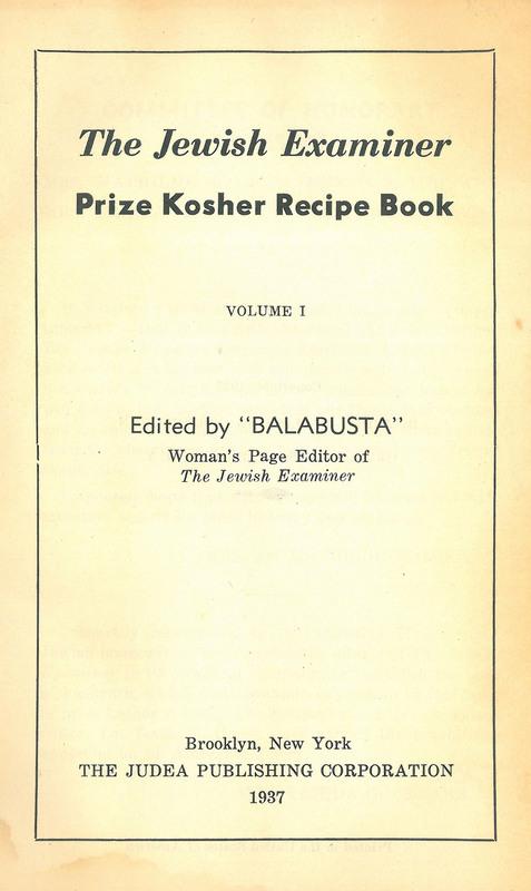 The Jewish Examiner Prize Kosher Recipe Book
