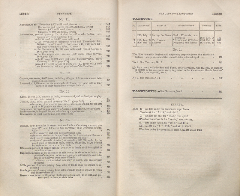 Paes LXXXII and LXXXIII of the Table of Contents of Treaties between the United States of America and the several Indian tribes, from 1778-1837 : with a copious table of contents. Compiled and printed by the direction, and under the supervision, of the commissioner of Indian affairs