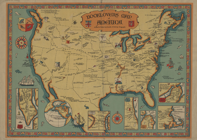Booklovers Map of America:  A Chart of Certain Landmarks of Literary Geography
