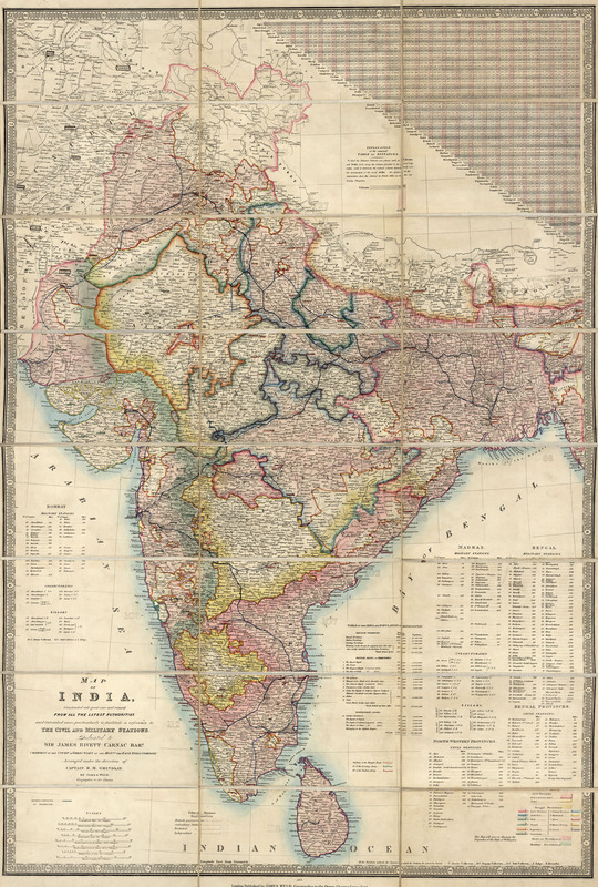 Map of India : constructed with great care and research from all the latest authorities and intended more particularly to facilitate a reference to the civil and military stations