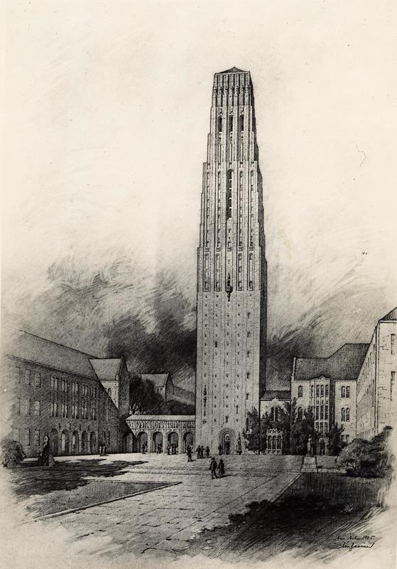 Architectural rendering of the proposed Burton Tower with Music School