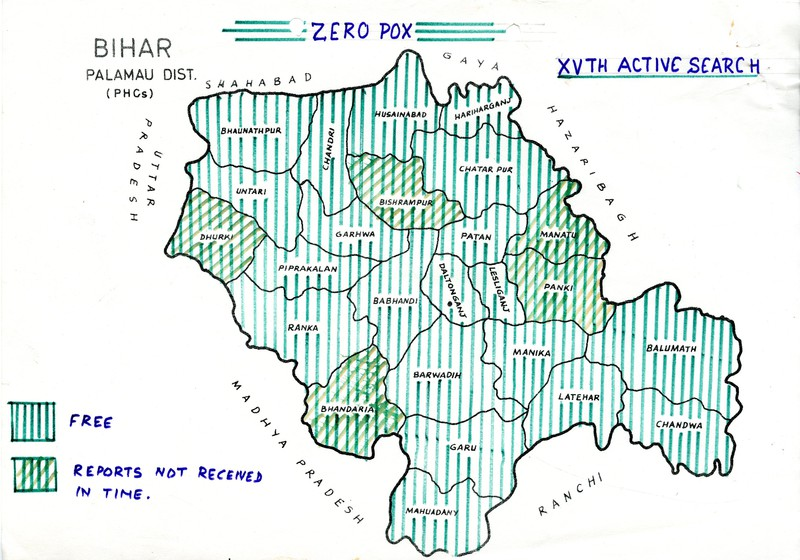 Map of active smallpox cases in Palamau district, Bihar