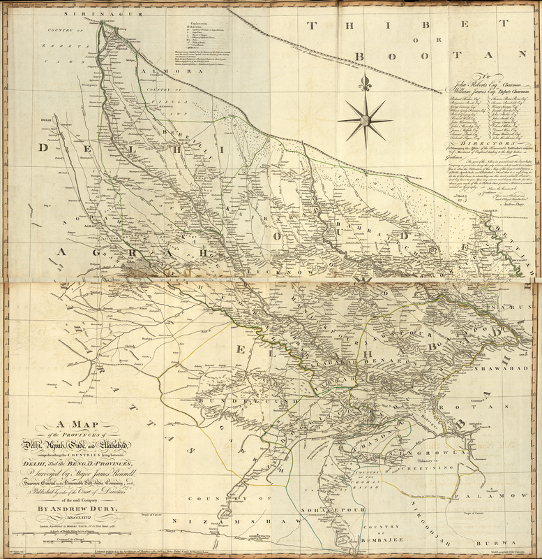 A map of the provinces of Delhi, Agrah, Oude, and Ellahabad  : comprehending the countries lying between Delhi and the Bengal-provinces