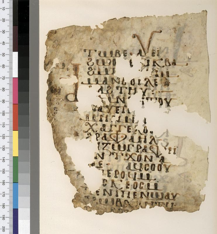 <span>P. Mich. Inv. 4937</span><br /><span>Unidentified text concerning the Archangel Raphael. Verso. Parchment. Origin unknown (White Monastery?). ca. 10th century. Parchment; 17.2 x 14.3 cm. </span>